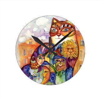 Venice cat round clock
