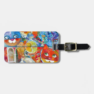 Venice cats carnaval luggage tag