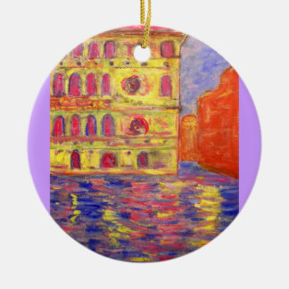 venice colourful palazzos Double-Sided ceramic round christmas ornament