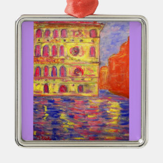 venice colourful palazzos square metal christmas ornament