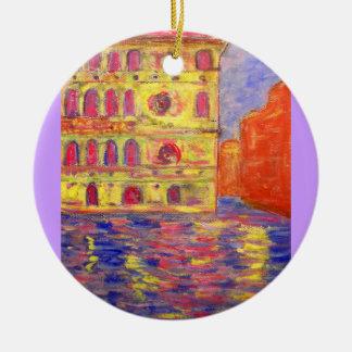 venice colourful palazzos round ceramic decoration
