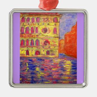 venice colourful palazzos Silver-Colored square decoration