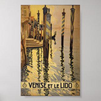 Venice et le Lido gondola deck vintage travel art Poster