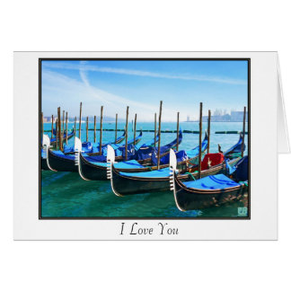 Venice Gandola with Love Quote Greeting Card