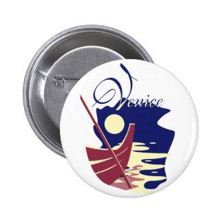 Venice Gondola 6 Cm Round Badge