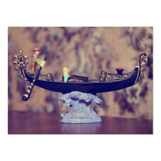 Venice gondola decoration 17 cm x 22 cm invitation card
