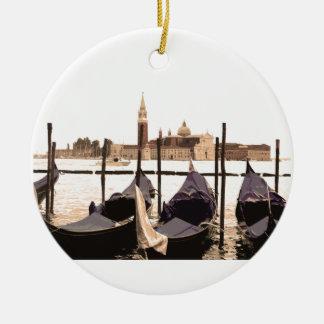 Venice Gondolas Round Ceramic Decoration