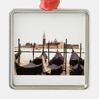 Venice Gondolas Silver-Colored Square Decoration