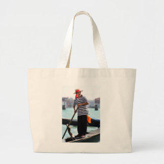 VENICE GONDOLIER WITH HIS HAT LARGE TOTE BAG