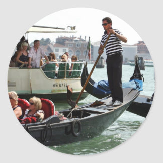 VENICE GONDOLIERS ON THE GRAND CANAL ROUND STICKER