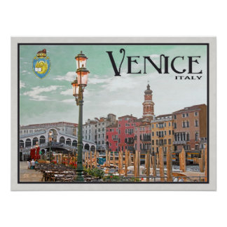Venice - Grand Canal and Rialto Bridge Poster