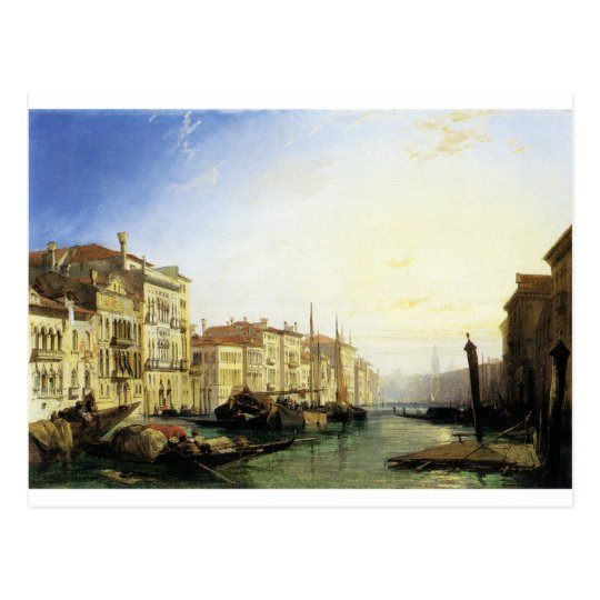 Venice Grand Canal Sunset Richard Parkes Bonington Postcard