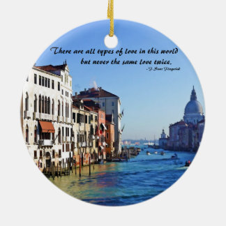 Venice Grand Canal with Love Quote Round Ceramic Decoration