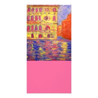 venice italy art personalised photo card