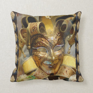 Venice Italy Carnival Mask Gold Throw Pillow