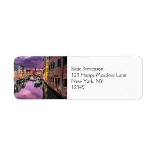 Venice, Italy Scenic Canal & Venetian Architecture Return Address Label