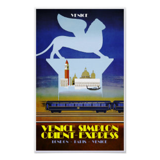 Venice, Orient Express travel poster