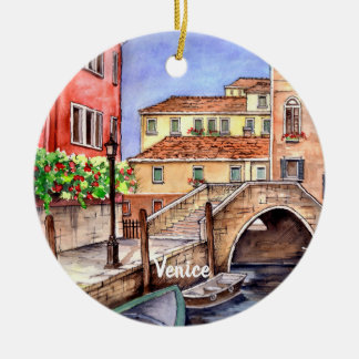 Venice - Pen & Wash Watercolor Christmas Ornament