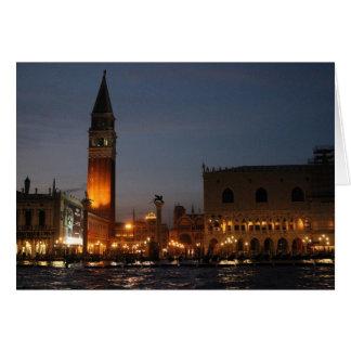 Venice - San Macro Square at Night Greeting Card