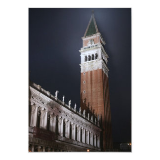 Venice San Marco Tower at Night Time 13 Cm X 18 Cm Invitation Card