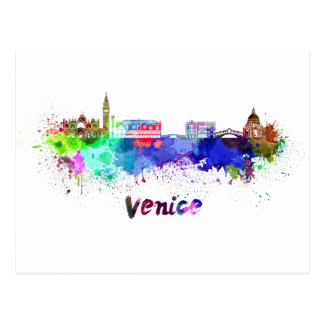 Venice skyline in watercolor postcard