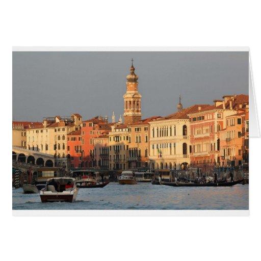 Venice Sunset at the Rialtro Bridge Card