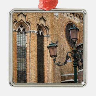 Venice, Veneto, Italy - A lamp post is standing Silver-Colored Square Decoration