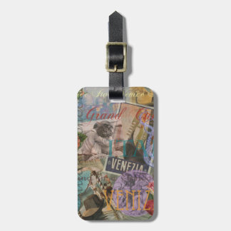 Venice Vintage Trendy Italy Travel Collage Luggage Tag
