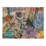 Venice Vintage Trendy Italy Travel Collage Post Cards