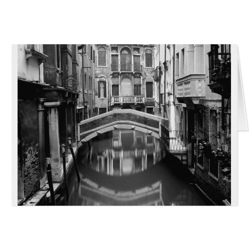 Venice Waterway Black and White Card