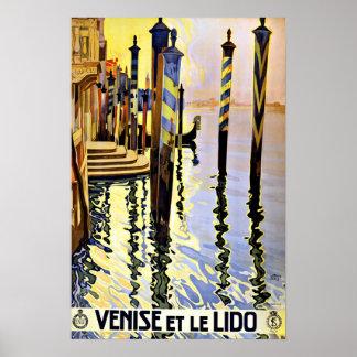 Venise et le Lido Italy Vintage Travel Poster