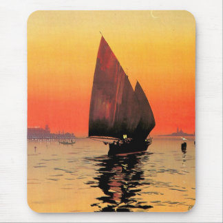Venise / Venice Italy Sailboat Sunset Vintage Mouse Pad