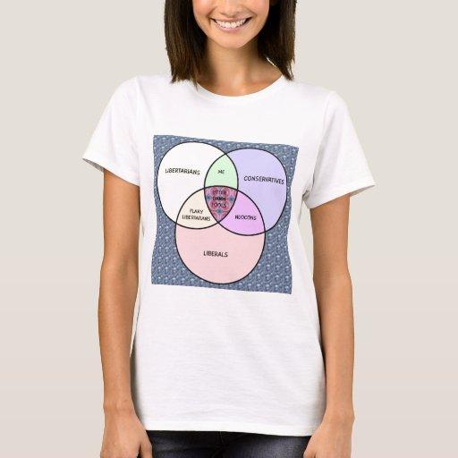 Venn diagram, Liberal, Conservative, libertarian T-Shirt