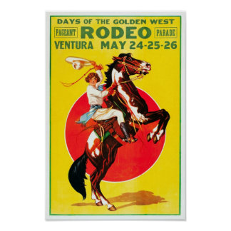 Ventura Rodeo, 1933. Vintage Advertising Poster