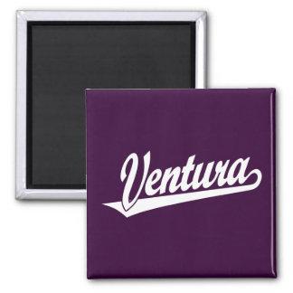 Ventura script logo in white square magnet