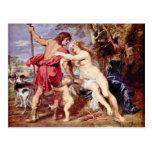Venus And Adonis By Rubens Peter Paul Postcards