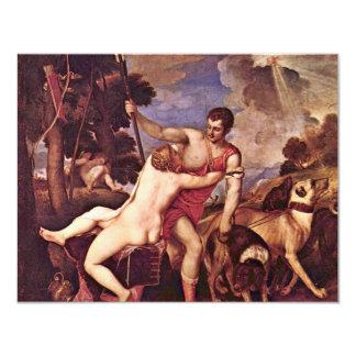 Venus And Adonis,  By Tizian (Best Quality) 11 Cm X 14 Cm Invitation Card