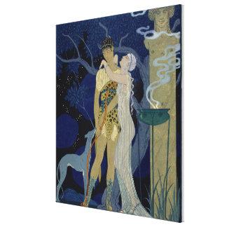 Venus and Adonis (colour litho) Canvas Print