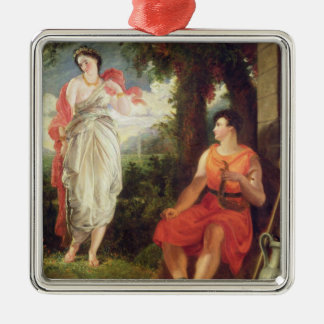 Venus and Anchises, 1826 (oil on canvas) Silver-Colored Square Decoration