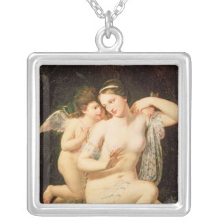 Venus and Cupid Silver Plated Necklace