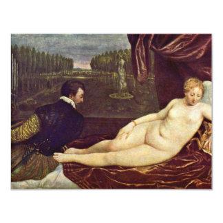 Venus And The Organ Player By Tizian 11 Cm X 14 Cm Invitation Card