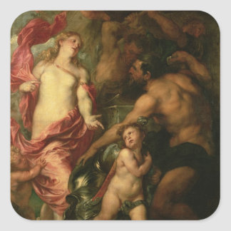 Venus asking Vulcan for the Armour of Aeneas (oil Square Sticker