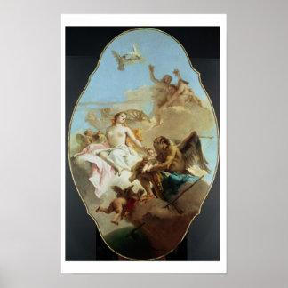 Venus, ceiling painting (oil on panel) print