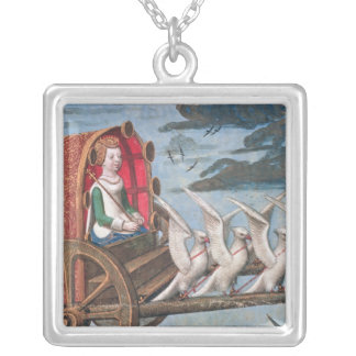 Venus comes to the rescue on a chariot drawn silver plated necklace