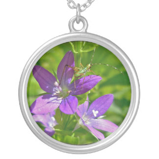 Venus Looking Glass Wildflower & Grasshopper Round Pendant Necklace