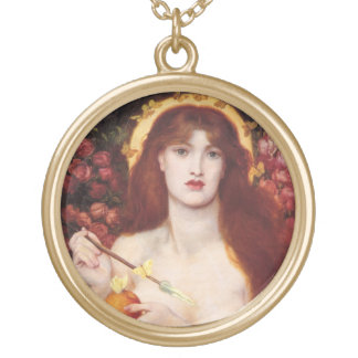 Venus Love Charm Amulet Large Gold Plated Necklace