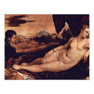 Venus With Cupid And Organist Dog By Tizian 11 Cm X 14 Cm Invitation Card