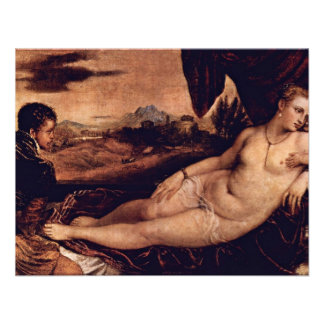 Venus With Cupid And Organist Dog By Tizian Invitations