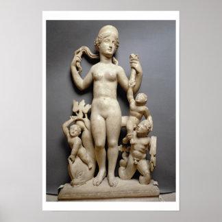 Venus with putti, a triton and a dolphin, Roman, 4 Poster