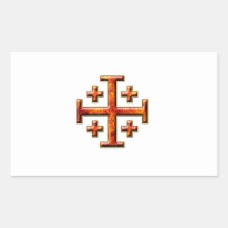 Ver 3 – Jerusalem Cross - Clear Back Rectangular Sticker